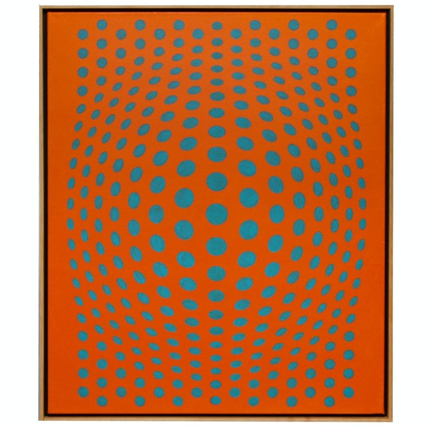 "deSanto Op Art Acrylic Painting ""Dream of Orange"""