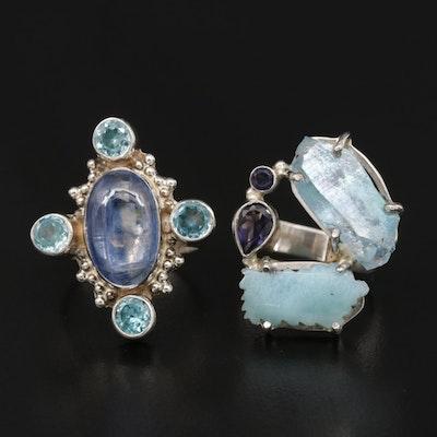 Sterling Silver Quartz, Kyanite and Larimar Rings
