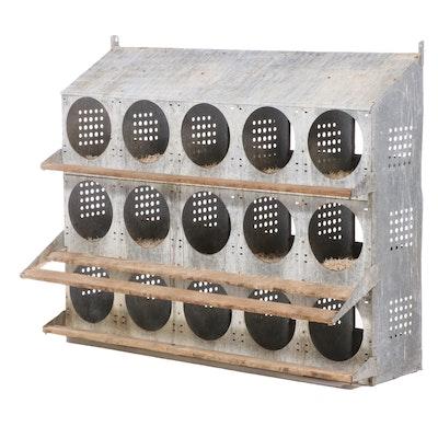 Large Sheet Metal and Wood Slat Fifteen-Hole Chicken Nesting Box