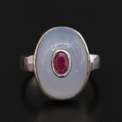 Sterling Silver Synthetic Ruby and Chalcedony Ring