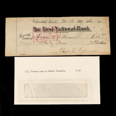 Cancelled 1899 Bank Check From Checotah Indian Territory
