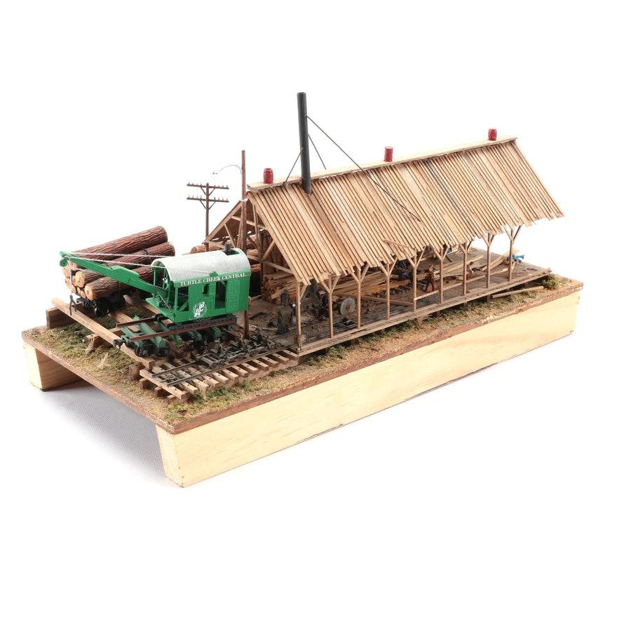Handcrafted Logging Building for a Model Train Display