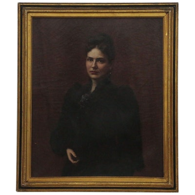 Oil Painting Portrait of a Woman in Black, Late 19th Century