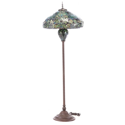 Tiffany Style Bronze-Patinated Metal and Stained Glass Floor Lamp