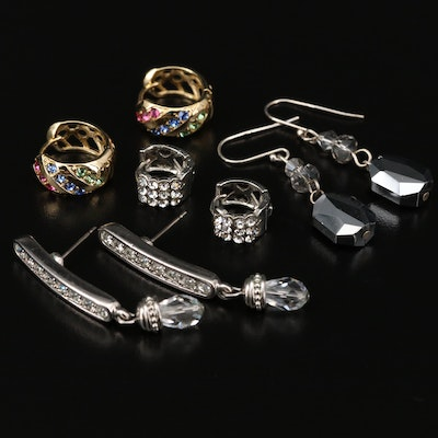 Huggie and Dangle Earrings Featuring Swarovski
