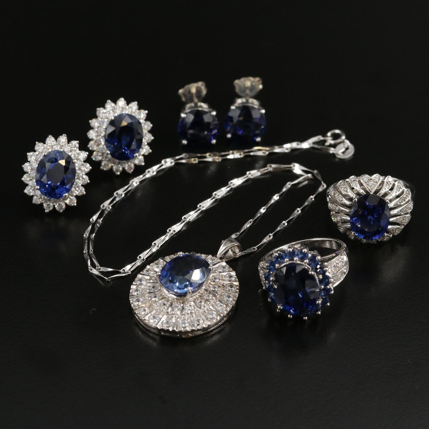 Sterling Assorted Jewelry with Sapphire and Cubic Zirconia
