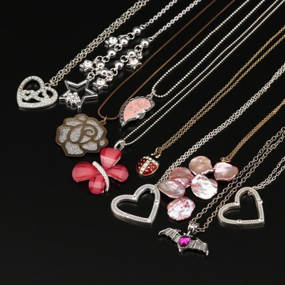 Collection of Necklace Including Ladybug and Butterfly Pendants