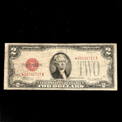 """Series of 1928-D $2 Red Seal United States Note, """"Star"""" Note."""