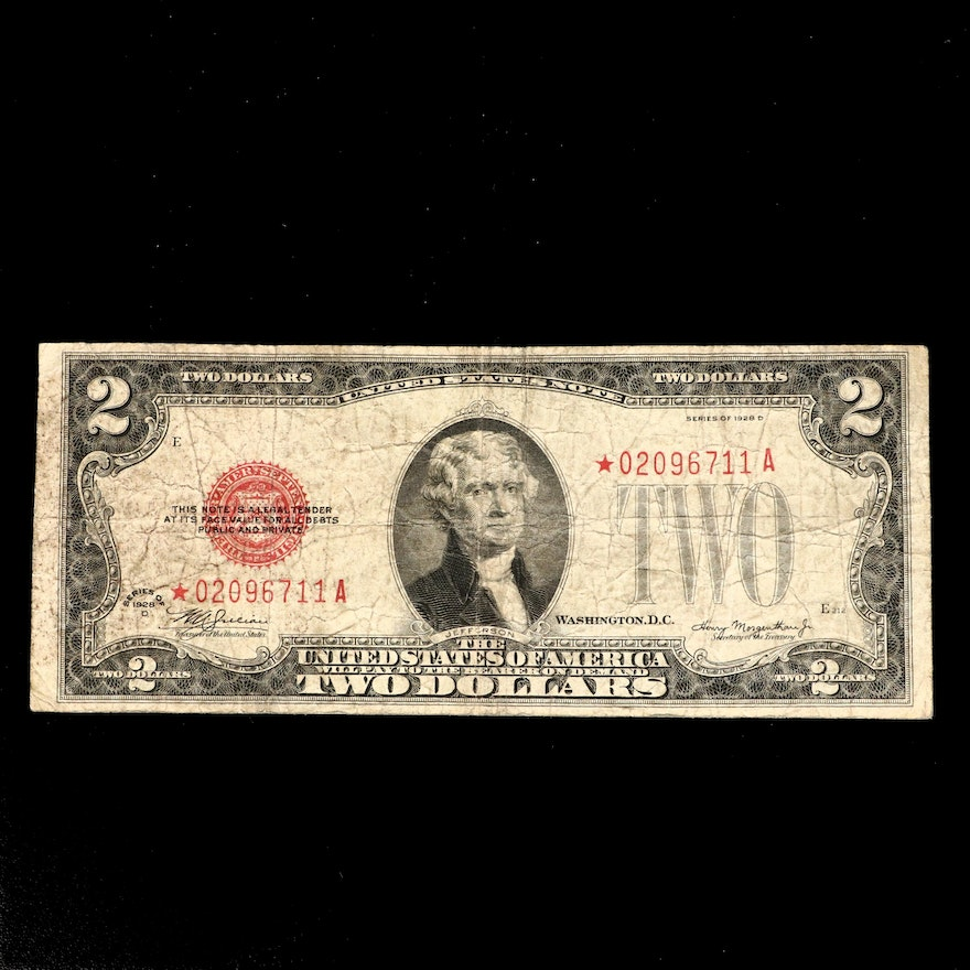 "Series of 1928-D $2 Red Seal United States Note, ""Star"" Note."