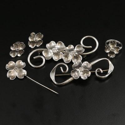 Vintage Stuart Nye Dogwood Motif Sterling Jewelry