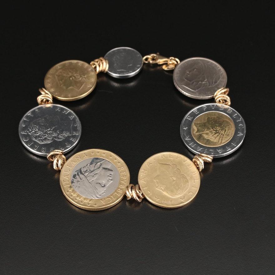 Milor 14K Gold Bracelet with Modern Italian Lire Coins