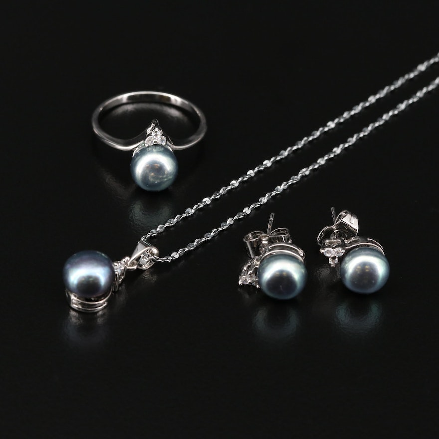 Cultured Pearl and Cubic Zirconia Necklace, Ring, and Earrings Set
