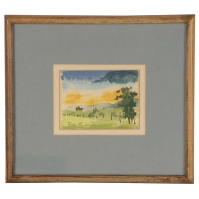 Miniature Landscape Watercolor Painting