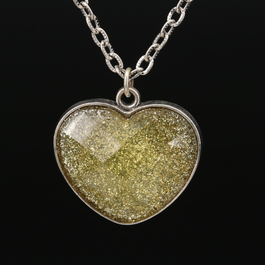 Glitter Heart Pendant on Cable Chain Necklace