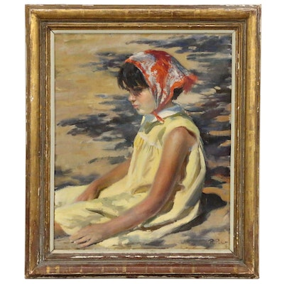Ramón Pichot i Soler Impressionist Style Portrait Oil Painting, Mid-20th Century