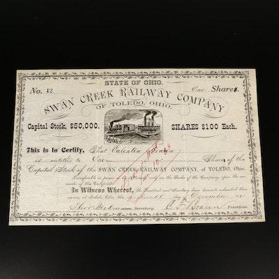 1881 Swan Creek Railway Company of Toledo, Ohio Stock Certificate