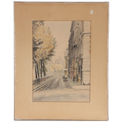 "Charles Samson Watercolor Painting ""Quai de L'Horloge"", Mid-20th Century"