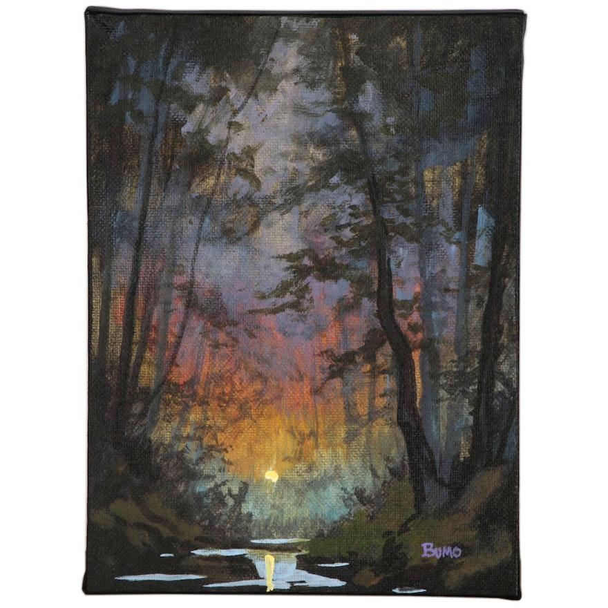 "Douglas ""Bumo"" Johnpeer Oil Painting ""Sunrise Creek"", 2015"