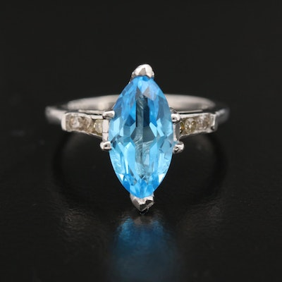 Platinum, Blue Topaz and Diamond Ring