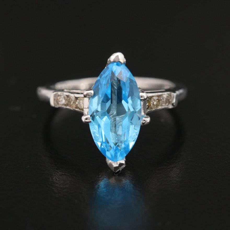 Platinum, Blue Topaz and Diamond Ring