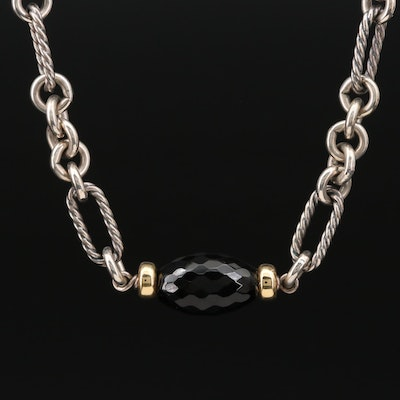 David Yurman Sterling Silver Black Onyx Figaro Chain Necklace with 18K Accents