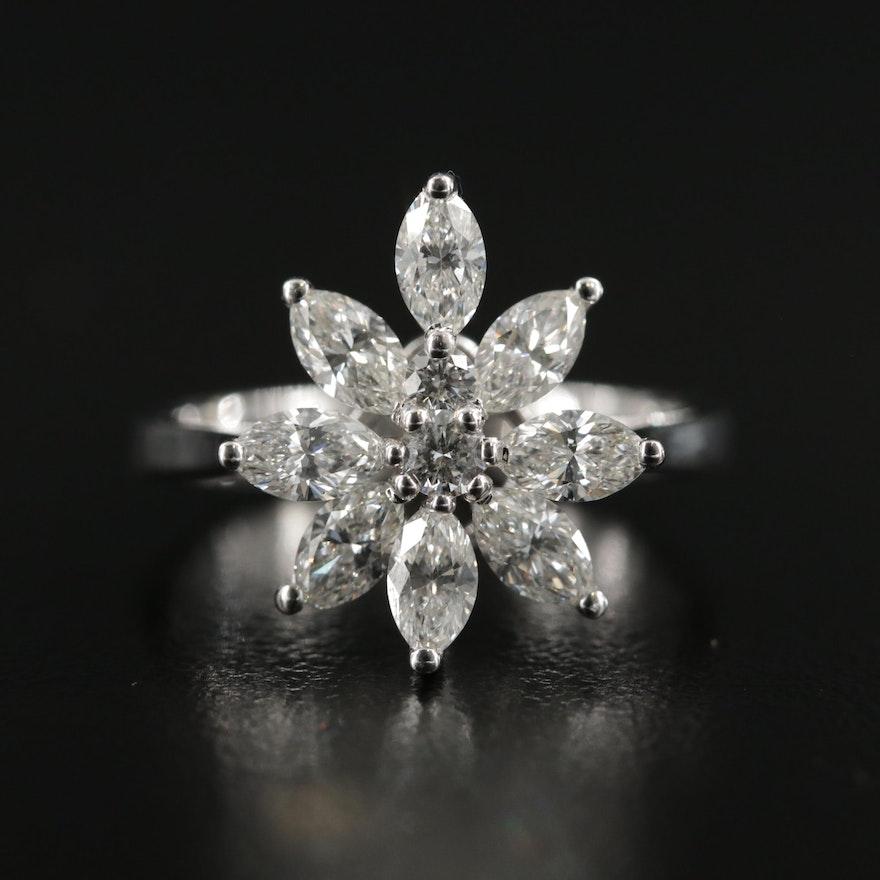 18K Gold 1.51 CTW Diamond Cluster Ring
