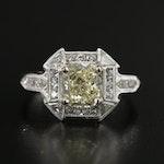 Vintage Platinum 2.08 CTW Diamond Ring
