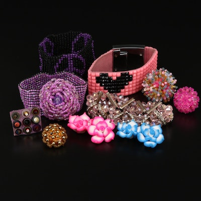 Assortment of Polymer Clay Bracelets, Rings and Earrings