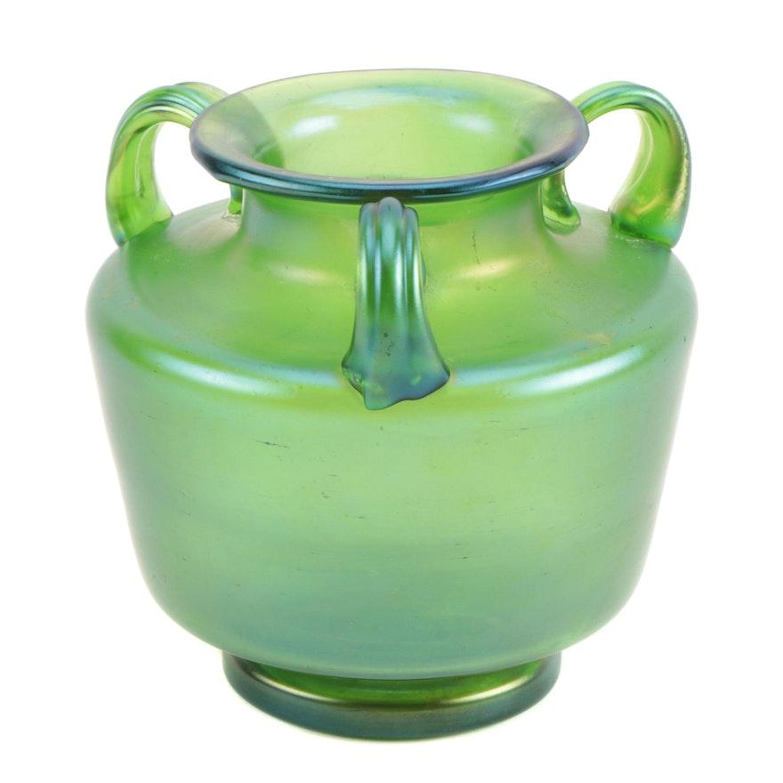 Loetz Style Iridescent Three Handled Blown Glass Vase