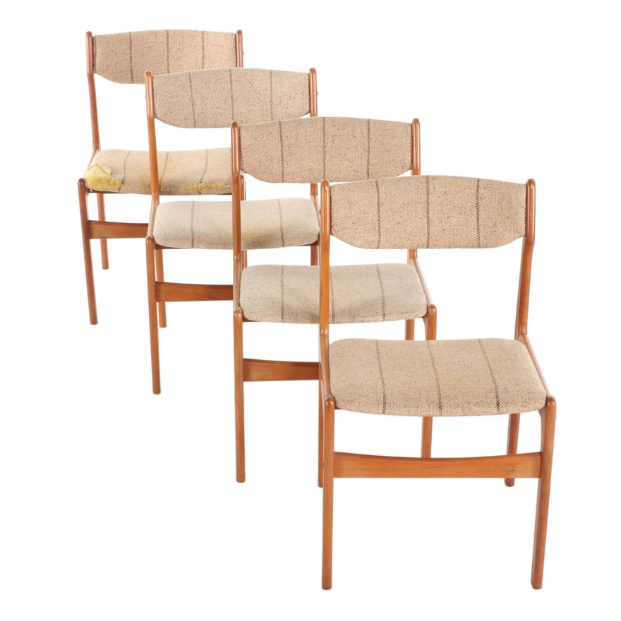 Danish Modern Teak Upholstered Side Chairs, Mid-20th Century