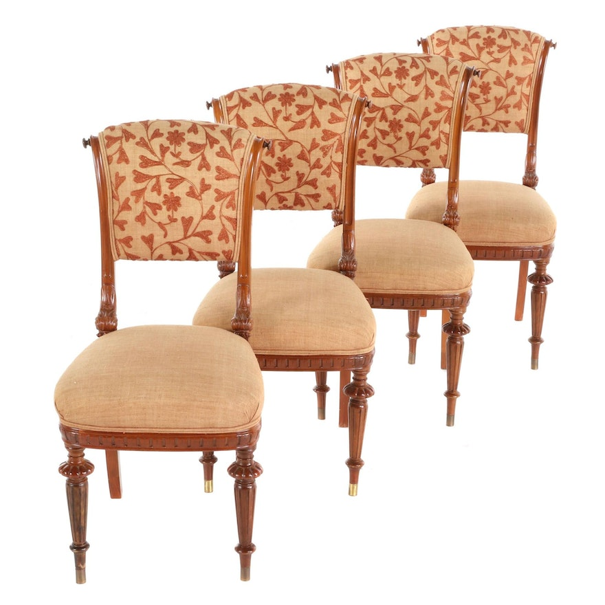 French Style Walnut Upholstered Side Chairs