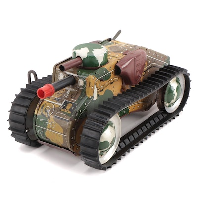 Tin Lithograph Army Model E12 Wind-Up Camouflage Toy Tank