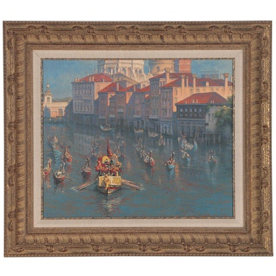 Harry E. Buckley Oil Painting of Venetian Canal, 1994