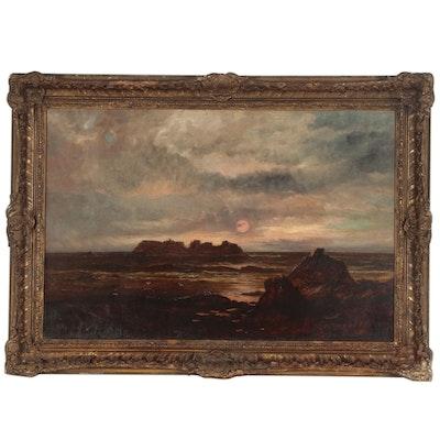 "John Holland Senior Oil Painting ""Sark. Channel, Island"", 19th Century"