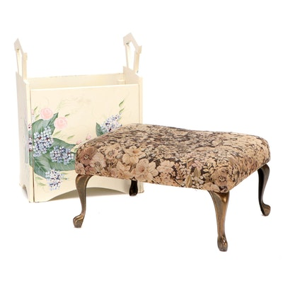 Kenyield Hand-Painted Magazine Rack with Upholstered Footstool
