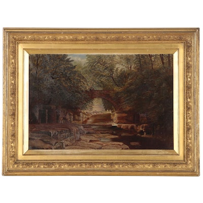 Riverside Oil Painting of Brick Bridge