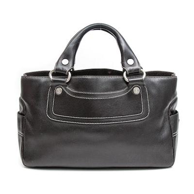 Céline Paris Leather Boogie Bag with Contrast Stitching