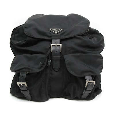 Prada Black Tessuto Nylon and Saffiano Leather Backpack Purse