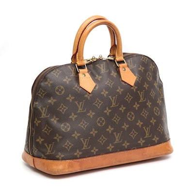 Louis Vuitton Alma MM Top Handle Bag in Monogram Canvas and Vachetta Leather