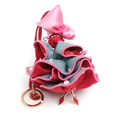 Christian Louboutin Satin and Denim Doll Key Ring Bag Charm with Embellishments