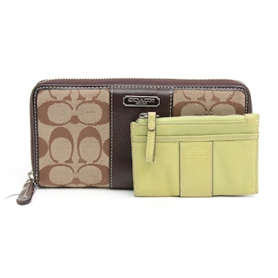 Coach Monogram Canvas and Leather Wallet and Coach Leather Coin Purse