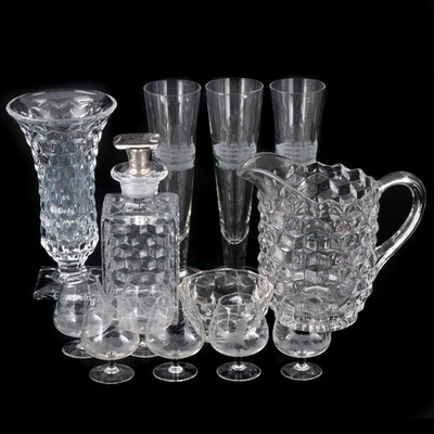 "Fostoria ""American Clear"" Serveware with Etched Glass Stemware"