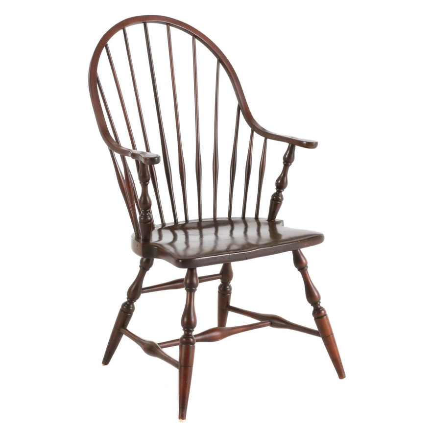 Spindle Back Stained Wood Windsor Chair, Mid 20th Century