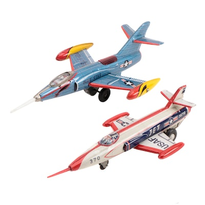 T.N and Modern Toys U.S.A.F. Tin Lithograph Friction Jets, Mid-20th Century