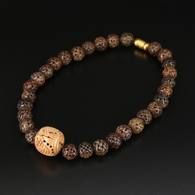 Asian Style Carved Serpentine and Bone Beaded Necklace