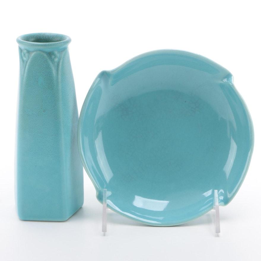 Rookwood Pottery Blue Glaze Vase and Ashtray, Mid-20th Century