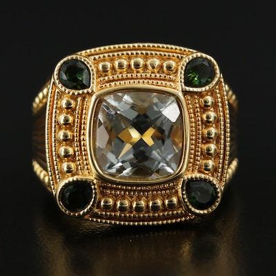 14K Yellow Gold Prasiolite and Tourmaline Ring