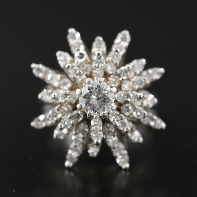 Circa 1950 14K Gold 2.14 CTW Diamond Ring