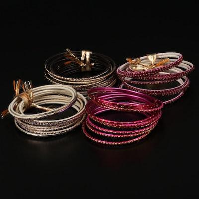 Pink and Gold Glitter Cuff Bracelets