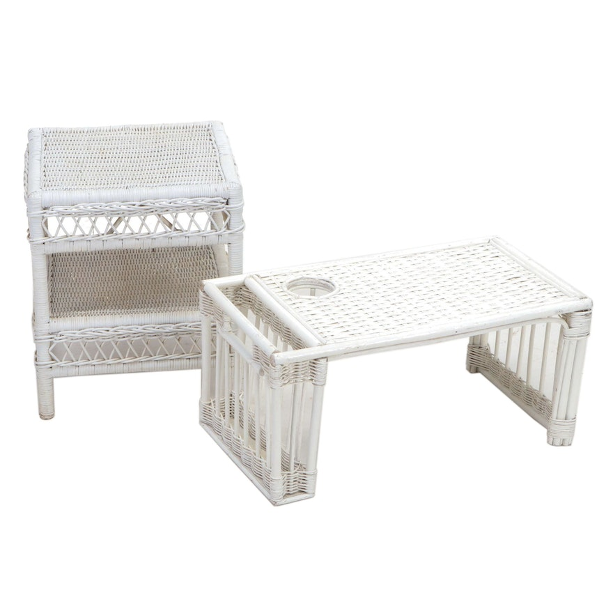 Painted Wicker Bed Tray with Magazine Rack and End Table